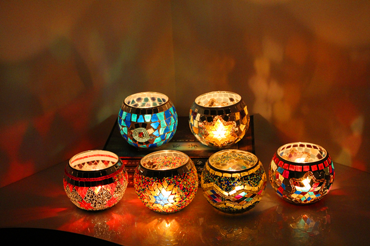 Handmade Mosaic Candle Holder Romantic Candlelight Dinner Wedding Party Candle Lamp Home Decoration