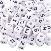 100PCs Mixed Cubic Acrylic Letter Beads For Jewelry Making Alphabet Beads DIY Jewelry Accessories Fit Necklace Bracelet 10x10mm(China)