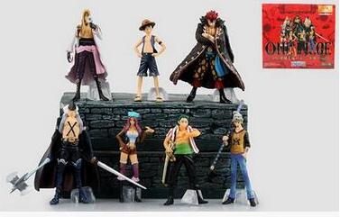 9-12cm 7pcs/set One Piece Luffy Trafalgar Law Anime Action Figure PVC Collection Model toys for christmas gift free shipping<br>