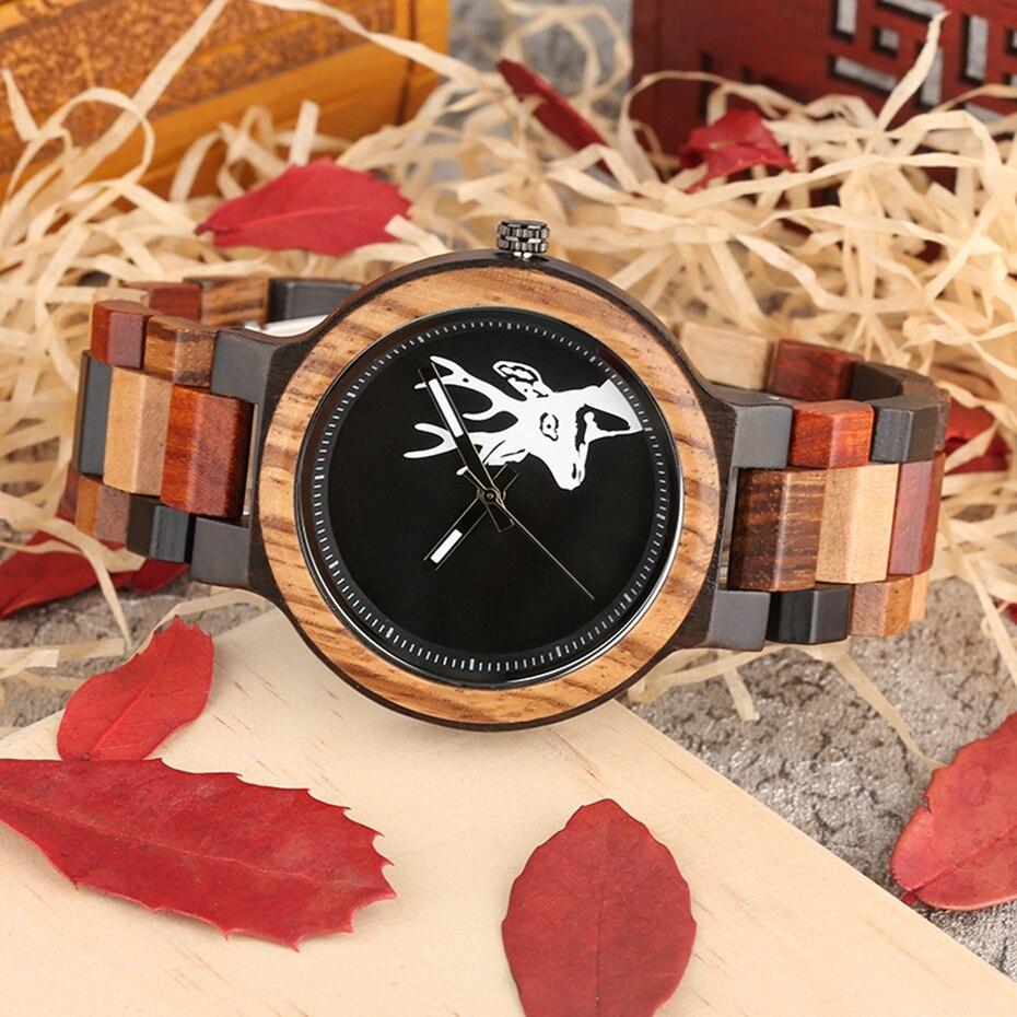 Unique Mixed Color Wood Watch Men Creative Deer Head Elk Clock Man Retro Full Wooden Wrist Quartz Watch Top Luxury Men\`s Watches 2018 2019 (9)