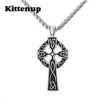 "Kittenup Men's Large Stainless Steel Cross Pendant Necklace Celtic Lrish Knot , 24"" Link Chain(China)"