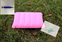 Pink Outdoor Indoor Waterproof Flocked Pvc Rectangular Inflatable Pillow Seat Cushion for Home Travelling Camping  Bed Head Rest