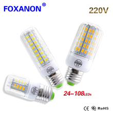 Foxanon Fireproof Radiation Cover LED Lamp E27 220V Corn Bulb Light 24 - 108Leds New 5730 Chip lampada Led Spotlight Lighting