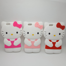 "3D Cartoon Hello Kitty Bowknot Soft Silicone Case For iPhone 4 4s 5 5s SE 6 7 6s plus 8 4.7 5.5"" Fundas Rubber Cover Phone Case(China)"