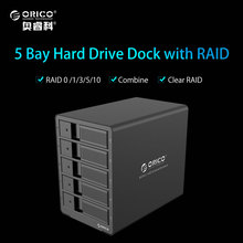 ORICO 9558RU3-BK 5-bay 3.5'' USB3.0 SATA Raid HDD Enclosure HDD Docking Station Case for Laptop PC Max. support 8TB x 5=40TB(China)