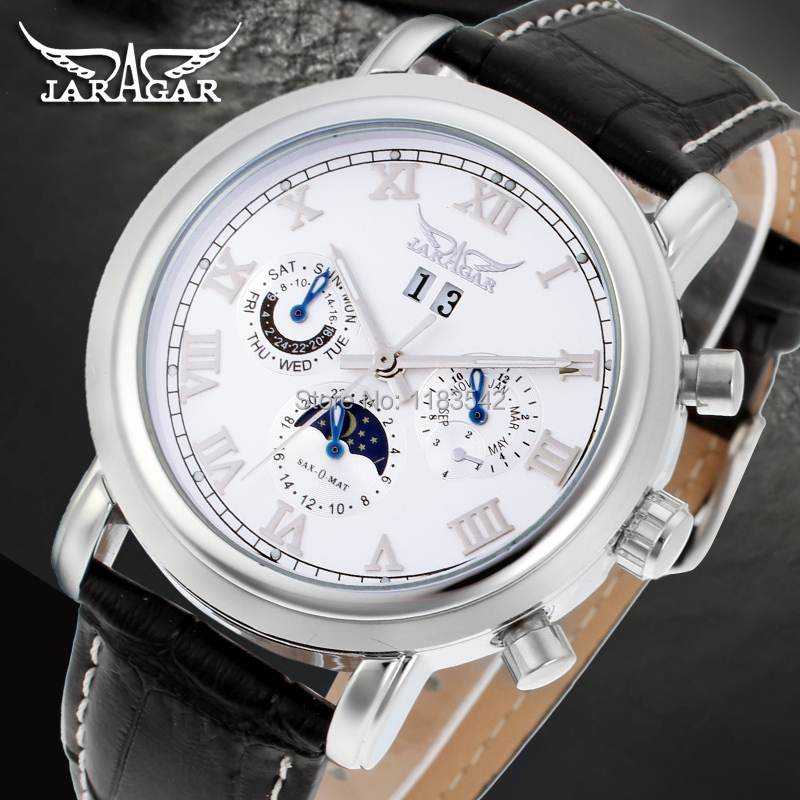 High-grade Moon phase Auto date week month day-night watch men luxury  brand automatic Jargar montre gift box /JAG349M3S1<br>