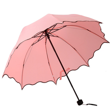 Manual Princess Bound Curves Folding Scalloped UV Protection Manual Lady's Red Umbrella Free shipping