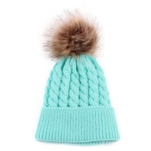 6 Colors Newborn Baby Girls Boys Caps Winter Warm Soft Wool Fur Pompom Ball Kids Knitted Hats