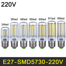 LED Lamp E27 E14 220V LED Light SMD5730 Mini Smart IC LED Bulb Corn Light 24/36/48/56/69/81/89LEDs Chandelier  Home Decoration