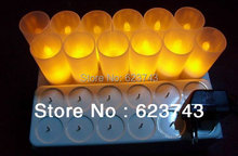 Free Shipping! Rechargeable Flameless LED Candle Light / 12 Yellow home Candle lamps,led gifts wholesales