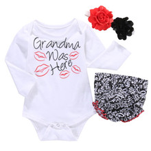 100% Cotton Infant Newborn Baby Bays Girls Flower Headband+Romper+Pants Ruffles 3pcs Outfit Set(China)