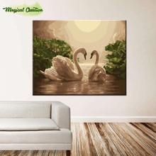 DIY digital oil painting no frame by numbers hand painted for home wall decor swan 40*50cm christmas decoration(China)