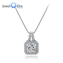 Luxurious Brand Square Zirconia Necklaces & Pendants Top Quality Women 925 Sterling Silver Pendant Necklace (JewelOra  NE101316)