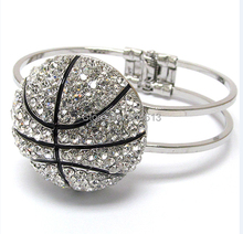 one piece Fashion Jewelry Crystal Deco Basketball Hinge Sports Charm Silver plated Bangle b1
