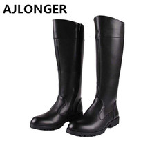 AJLONGER Male boots police boots riding  high-leg world war ii field  equestrian man tall boots