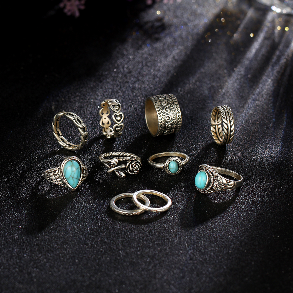 2 Color Rose Heart Midi Ring Sets For Women Man Boho Anillos Vintage Tibetan Flower Knuckle Rings Punk Jewellery 2018 New