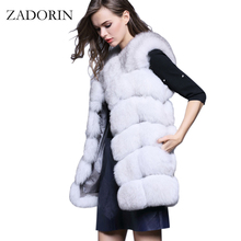 S-4XL Female Fur Waistcoat 2017 New Winter Warm Faux Fox Fur Vest Women High-Grade Cappa Fashion O-Neck Long Fur Coat Cardigan(China)