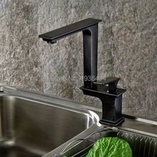 360 Degree Swivel Spout Hot and Cold Water Single Handle Hole Black Kitchen Faucets Kitchen Mixer Taps,Black color B3273