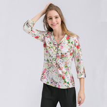 Dioufond Flower Print Chiffon Blouse Shirts V-Neck Long Sleeve Female Tops Loose Printed Flowers Casual Fashion Ladies Shirts(China)