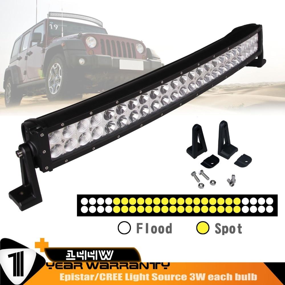 26INCH 144W Combo Beam LED Light Bar Curve Double Row Fog Driving Light for Jeep,UTV,ATV,Truck 6000K<br><br>Aliexpress