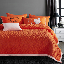 Orange Color 100% Polyester Quilt + Pillowcase Patchwork Bedspread Quilted Coverlet Twin Size Summer Bed Cover XF161-7(China)