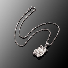 Stainless steel men necklaces Antique silver Geometric Titanium steel Pendant Stainless steel in chain Men's Jewelry N010623