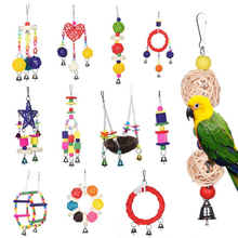 Mayitr Parrot Toys Pet Bird Bites Climb Chew Toy Hanging Cockatiel Parakeet Climb Chewing Cage With Bell Bird Toys Multi Styles(China)
