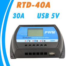 RTD-40A Solar Charge Controller 24V 12V PWM Big LCD Regulator 40A with 5V USB Charger for Max 50V Solar Panel Input High Quality