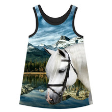 Girl clothing bibs dress nice Girls Dresses white horse Summer style big brand Print Children Designer baby Kids Clothes Fashion(China)