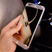 Mirror Rhinestone Case Bling TPU Soft Gel Silver Phone Case Back Sliver Cover Skin For iPhone 6 4.7''