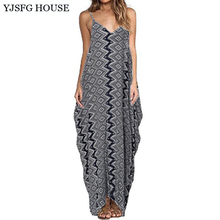 YJSFG HOUSE Vintage Women Summer Spaghetti Strap Dress Casual Sexy Bohemian Beach Dress Ladies Off Shoulder Long Maxi Vestidos