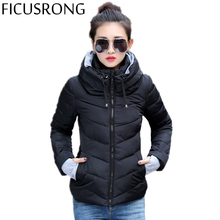 FICUSRONG Winter Jacket Women Cotton Short Jacket 2017 New Girls Padded Slim Hooded Warm Parkas Stand Collar Coat Female Autumn