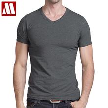 Free Shipping 2017 summer Hot Sale Cotton T shirt men's casual short sleeve V-neck T-shirts black/gray/green/white S-5XL MTS181(China)