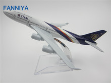 16cm  Metal Air Thailand Air Thai Airlines Boeing 747 B747 400 Airways Plane Model Aircraft Airplane Model w Stand  Gift