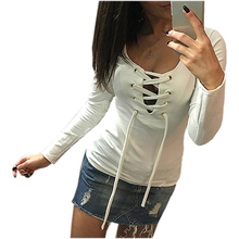 2016 Lace Up Long-Sleeve Shirt Women Deep V TShirts Spring Sexy Bandage Femme Tops In Five Colors LX068