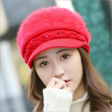 [Gsycl] Winter New Pattern Rabbit Hair Hat Solid Color Bailey Peaked Cap Knit Wool Pearl Cap Warm Hat for women Red Milk White(China)