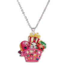 2016 Fashion Cute Acrylic Cartoon Shopping Basket Pendant Necklace for Little Girls Silver Chain Children's Necklaces & Pendants(China)