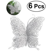 "6 x Christmas Butterfly 3""/8cm Christmas Decorations Christmas Tree Ornaments Wedding Party Decorations (Silver)(China)"