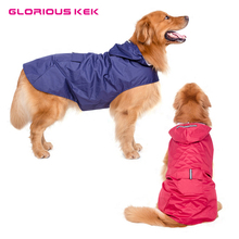 Glorious Kek New Large Dog Raincoat Super Waterproof Hooded Rain Jacket Reflective Pet Clothes Golden Retriever Labrador 3XL-5XL(China)