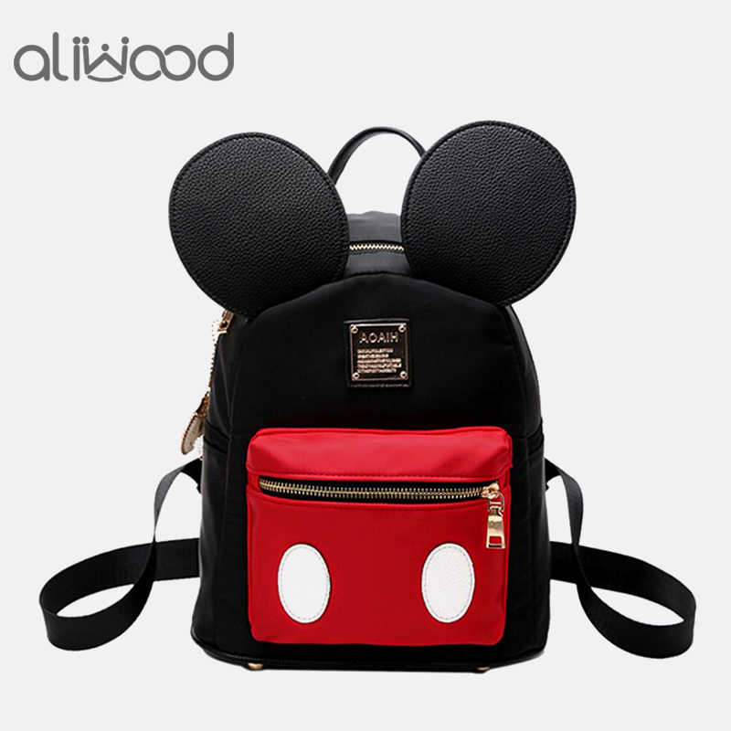 23ee274e1002 Aliwood Women Mickey Small Backpack Schoolbag Cute Minnie Mini Children s  Backpack For Teenage Girl Backpack Mochila