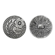 "DoreenBeads Zinc metal alloy Jeans Button Metal Buttons Round Antique Silver Single Hole Flower 17.0mm( 5/8"")Dia,7 PCs(China)"