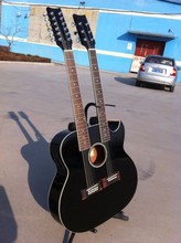 New brand acoustic electric double neck  guitar with cutway in stock 2 colors available