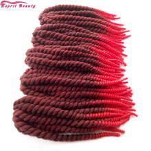 "12"" 8Pack Havana Jumbo Crochet Twist Braid Hair Esprit Beauty Bright Red Ombre Pretwist Synthetic Braiding Hair Extensions Style"