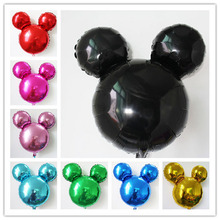 10pcs/lot mix pure color Mickey balloon cartoon minnie head shape inflatable helium ballon for birthday party supplyMK021(China)