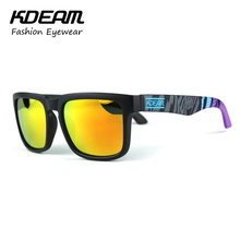 Kdeam 2017 Sunglasses Men Reflective Coating Square Polarized Sun Glasses Women Brand Designer Oculos De Sol With Original Case