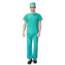 Adult Male Green Fun and Fantasias Doctor Scrubs Cosplay Costumes Themed Party Halloween Fancy Dress Up Outfit Uniform For Man