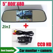 2in1 CCD car rear view parking reverse camera For Great wall Hover H3 H5 H6 + 5inch HD 800*480 car mirror monitor