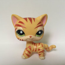 Pet Shop Animal Orange Striped Short Hair Cat Figure For Child Toy Gift CT105(China)