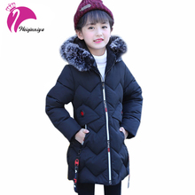 Children's Cotton Outerwear&Coats Fashion Long Warm Girls Winter Jackets Teenagers Kids Hooded Zipper Clothes Big Girl Clothing