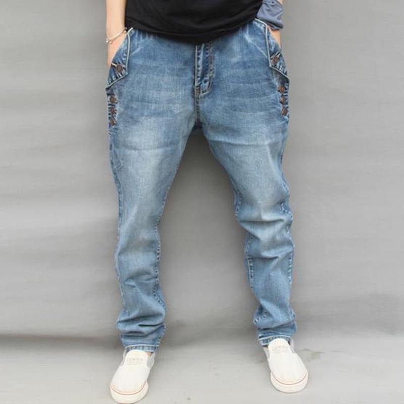 2017 fashion sprint autumn loose elastic plus size men jeans  cotton denim big crotch harem casual  jeansÎäåæäà è àêñåññóàðû<br><br>